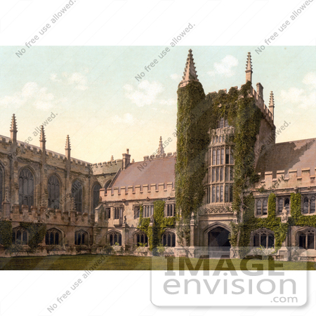 #22180 Historical Stock Photography of Ivy Growing on the Founder's Tower and Cloisters of Magdalen College Oxford England by JVPD