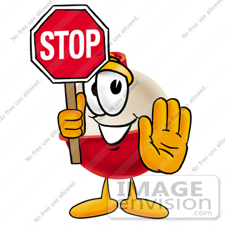 #22749 Clip art Graphic of a Fishing Bobber Cartoon Character Holding a Stop Sign by toons4biz