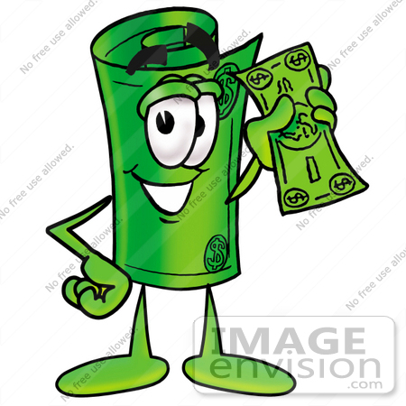 Clip Art Graphic of a Rolled Greenback Dollar Bill Banknote Cartoon  Character Holding a Dollar Bill | #24715 by toons4biz | Royalty-Free Stock  Cliparts
