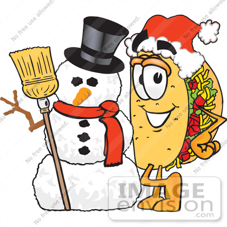 #25519 Clip Art Graphic of a Crunchy Hard Taco Character With a Snowman on Christmas by toons4biz