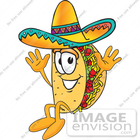 #25520 Clip Art Graphic of a Crunchy Hard Taco Character Wearing a Sombrero and Jumping by toons4biz