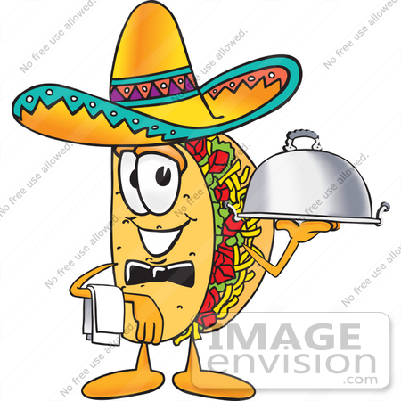 #25522 Clip Art Graphic of a Crunchy Hard Taco Character Wearing a Sombrero, Waiting Tables and Serving a Platter by toons4biz