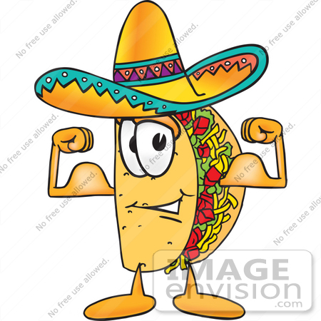 #25531 Clip Art Graphic of a Crunchy Hard Taco Character Flexing His Arm Muscles by toons4biz