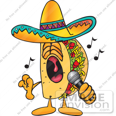 #25543 Clip Art Graphic of a Crunchy Hard Taco Character Singing Loud Into a Microphone by toons4biz