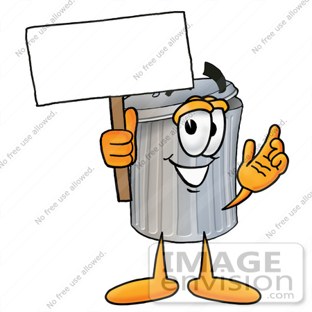 Clip Art Graphic Of A Metal Trash Can Cartoon Character Holding A