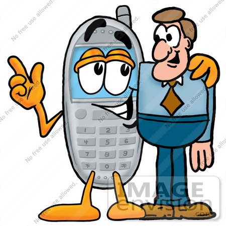 Clip Art Graphic Of A Gray Cell Phone Cartoon Character Talking To A Business Man 26631 By Toons4biz Royalty Free Stock Cliparts