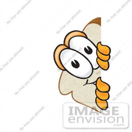 #27528 Clip Art Graphic of a White Bread Slice Mascot Character Peeking Around a Corner and Spying by toons4biz