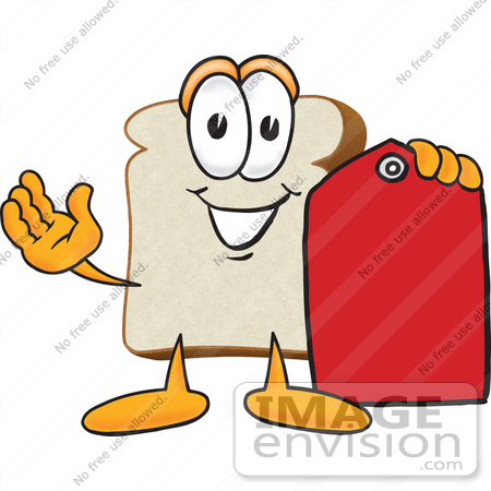 #27531 Clip Art Graphic of a White Bread Slice Mascot Character Holding a Red Clearance Price tag by toons4biz