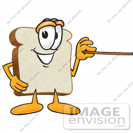 #27532 Clip Art Graphic of a White Bread Slice Mascot Character Holding a Pointer Stick by toons4biz