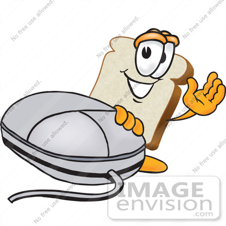 #27534 Clip Art Graphic of a White Bread Slice Mascot Character Resting One Hand on a Computer Mouse and Waving by toons4biz