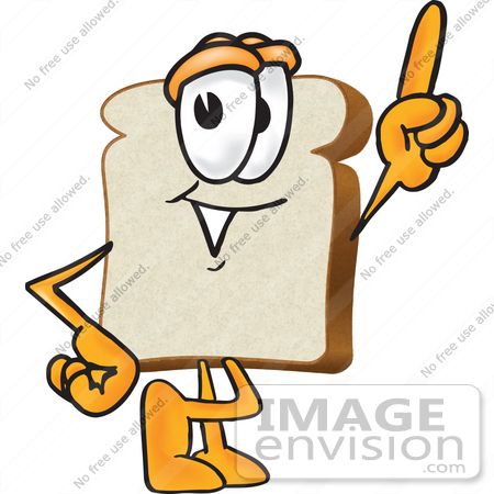 #27540 Clip Art Graphic of a White Bread Slice Mascot Character Pointing Upwards by toons4biz