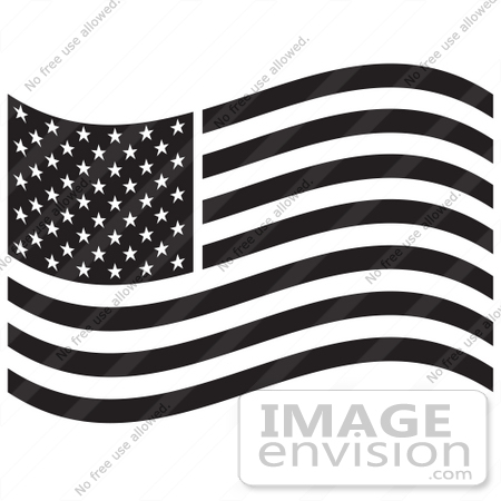 royalty-free black and white cartoon clip art of the american flag