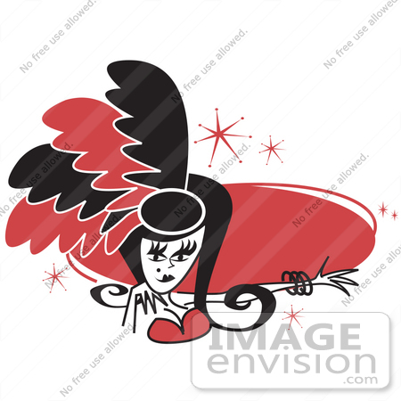 #29202 Royalty-free Cartoon Clip Art of a Pretty Showgirl In Red And Black Feathers, Holding Out Her Arm In Front Of A Red Circle by Andy Nortnik
