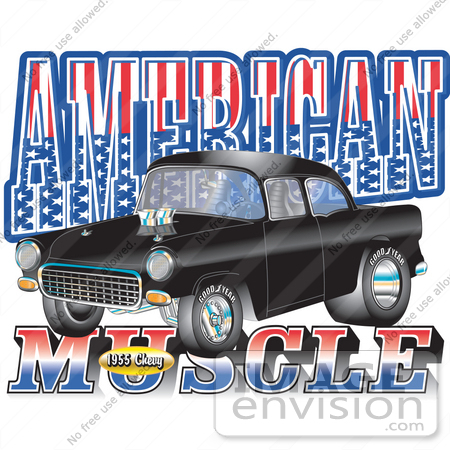 "#29348 Royalty-free Cartoon Clip Art of a Black 1955 Chevy Muscle Car With Text Reading ""American Muscle"" With Stars And Stripes by Andy Nortnik"