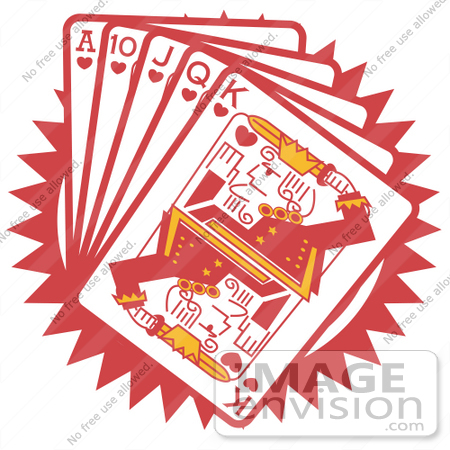 Royalty-free Cartoon Clip Art of a Hand Of Red Playing Cards