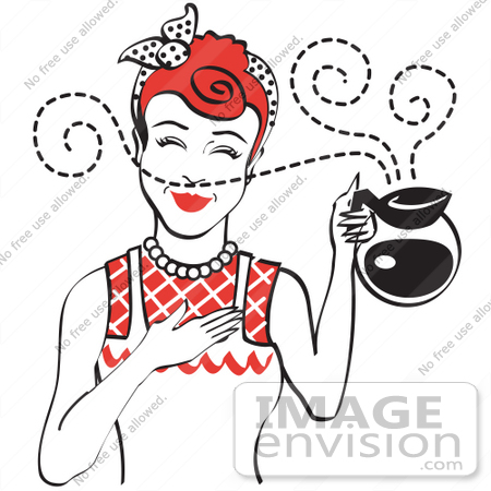 Royalty Free Cartoon Clip Art Of A Red Haired Waitress Smelling The Wonderful Aroma Of Fresh Hot Coffee While Holding A Coffee Pot 29454 By Andy Nortnik Royalty Free Stock Cliparts