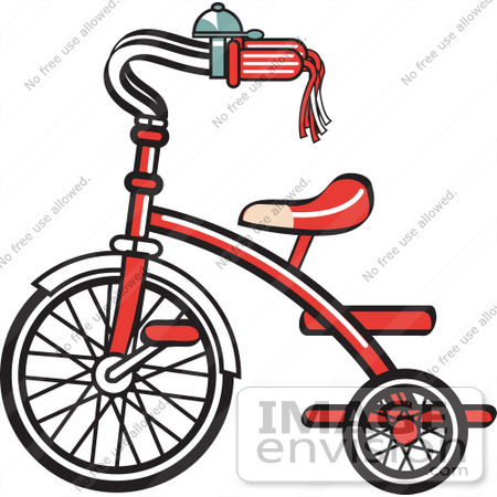 #29466 Royalty-free Cartoon Clip Art of a New Trike Bike With A Bell On The Handlebars by Andy Nortnik