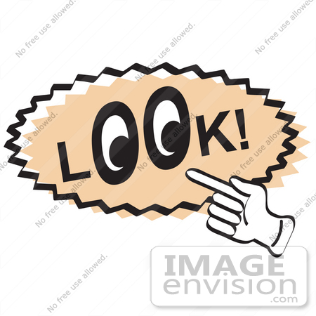 #29478 Royalty-free Cartoon Clip Art of a Vintage Sign Showing A Hand Pointing To The Word Look With Eyes In The O's by Andy Nortnik