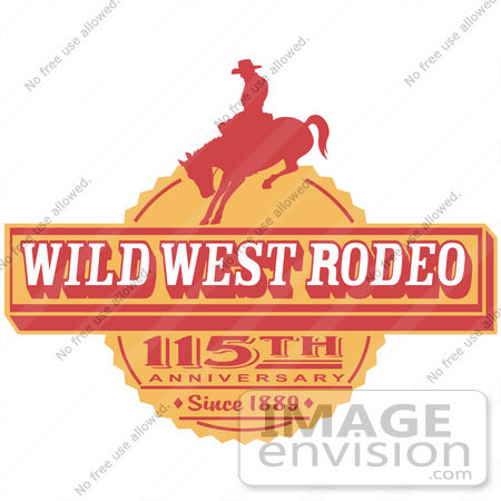 #29502 Royalty-free Cartoon Clip Art of a Vintage Wild West Rodeo Advertisement With a Cowboy Riding a Bucking Bronco by Andy Nortnik