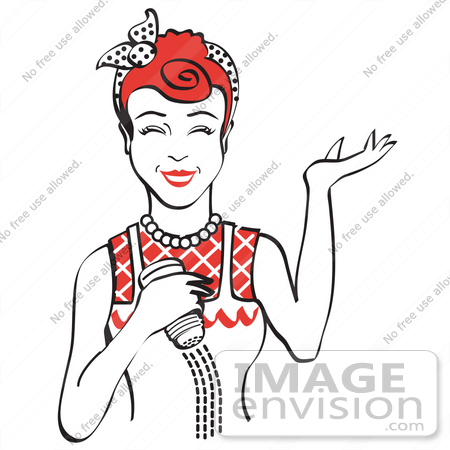 #29577 Royalty-free Cartoon Clip Art of a Happy Red Haired Woman Using a Salt Shaker While Cooking by Andy Nortnik