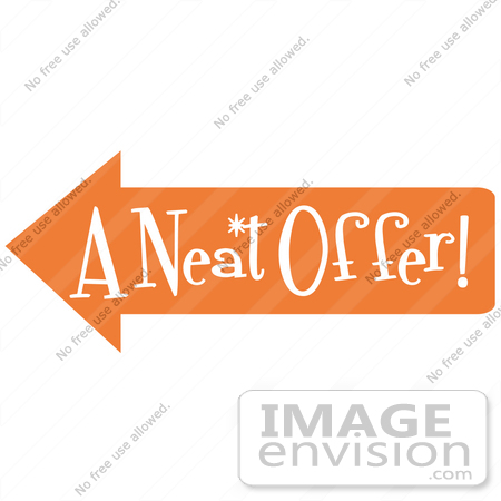 "#29583 Royalty-free Cartoon Clip Art of a Vintage Sign Showing An Orange Arrow Pointing Left And Reading ""A Neat Offer. by Andy Nortnik"