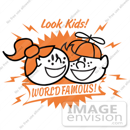 #29586 Royalty-free Cartoon Clip Art of a Two Happy Freckled Redheaded Kids, One Boy and One Girl by Andy Nortnik