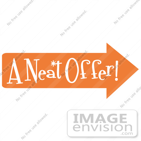 "#29615 Royalty-free Cartoon Clip Art of a Vintage Sign Showing An Orange Arrow Pointing Right And Reading ""A Neat Offer by Andy Nortnik"