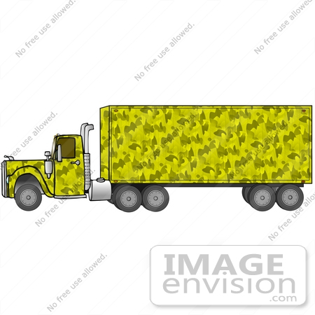 #29741 Clip Art Graphic of a Yellow Camouflage Big Rig by DJArt