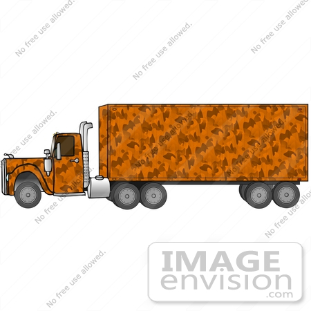 #29744 Clip Art Graphic of an Orange Camo Big Rig Truck by DJArt