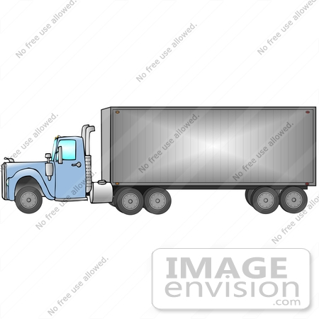 #29752 Clip Art Graphic of a Blue Semi Truck by DJArt
