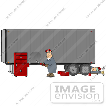 #29766 Clip Art Graphic of a Mechanic and Body Repair Man Fixing a Big Rig Cargo Trailer by DJArt