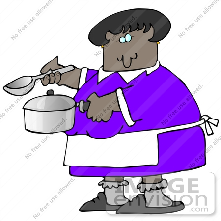 #29802 Clip Art Graphic of an African American Lady Holding A Spoon And Pot While Cooking Soup For Supper In A Kitchen by DJArt