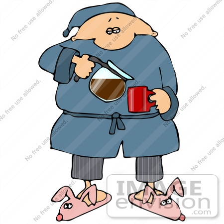 #29895 Clip Art Graphic of a Sleepy Man In A Robe And Bunny Slippers, Pouring A Cup Of Hot Coffee by DJArt