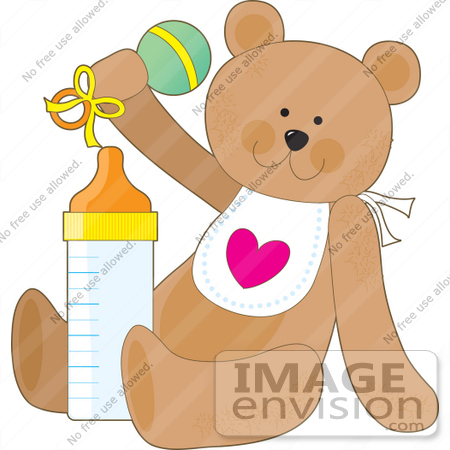 #33537 Clipart of a Baby Teddy Bear In A Bib, Shaking A Rattle And Sitting With A Bottle Of Formula by Maria Bell