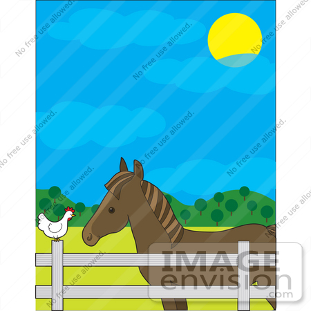 #33562 Clip Art Graphic of a Cute White Hen Sitting On A Fence And Passing Barnyard Gossip To A Horse by Maria Bell