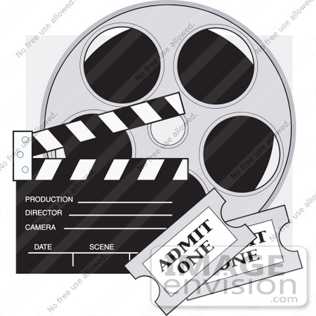 Clip Art Graphic Of A Film Reel Clapboard And Tickets 33675 By Maria Bell Royalty Free Stock Cliparts