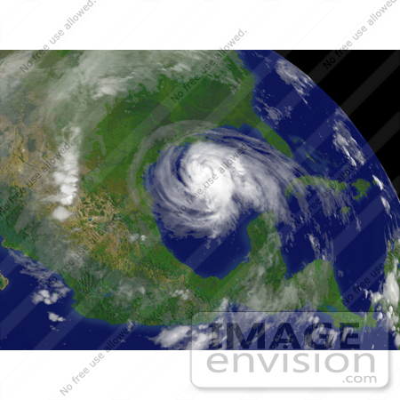 #33907 Stock Photo of Hurricane Ike Located Southeast Of Galveston, Texas, Moving Toward The West-Northwest At About 13 Mph With Maximum Sustained Winds Near 105 Mph, September 12th 2008 by JVPD
