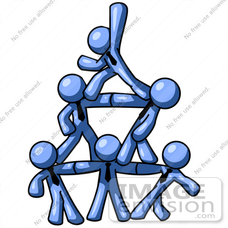 Clip Art Graphic of Blue Guy Characters Forming A Pyramid
