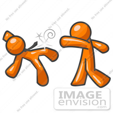 #35487 Clip Art Graphic of an Orange Guy Character Knocking His Opponent Out by Jester Arts