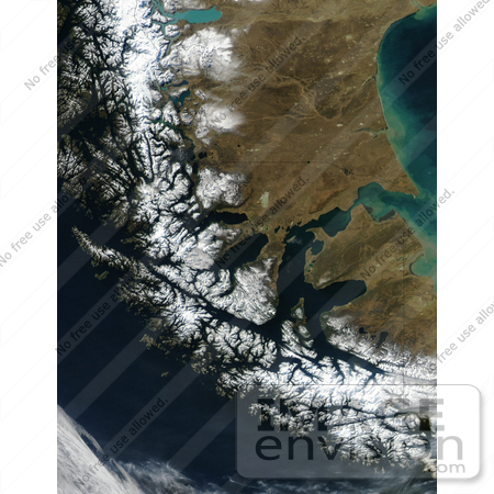 #35500 Geography Stock Photo Of The Strait Of Magellan, Chile As Seen From Space by JVPD
