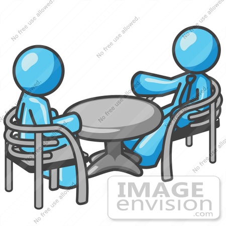 #35937 Clip Art Graphic of a Sky Blue Guy Character Chatting With a Friend at a Table by Jester Arts