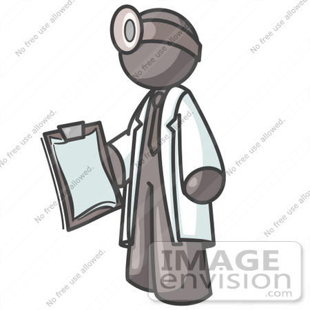 #36270 Clip Art Graphic of a Grey Guy Character Doctor With a Clipboard by Jester Arts