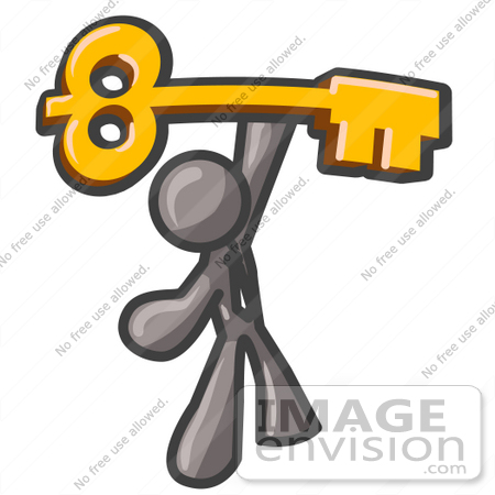 #36329 Clip Art Graphic of a Grey Guy Character Holding up a Skeleton Key by Jester Arts