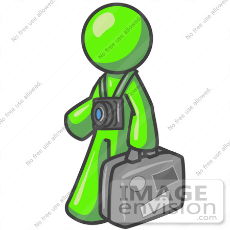 #36689 Clip Art Graphic of a Lime Green Guy Character Tourist With a Camera and Luggage by Jester Arts