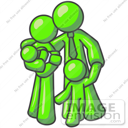 #36734 Clip Art Graphic of a Lime Green Guy Character Family Embracing by Jester Arts