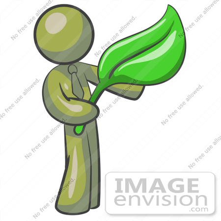 #37212 Clip Art Graphic of an Olive Green Guy Character Holding a Green Leaf by Jester Arts
