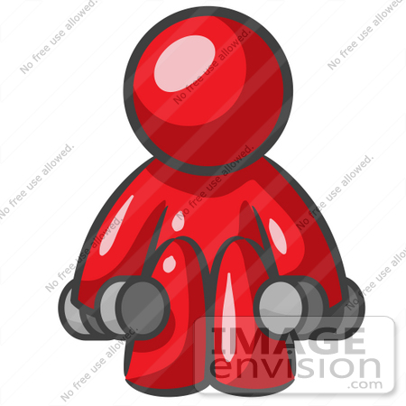 #37314 Clip Art Graphic of a Red Guy Character Exercising With Dumbbells by Jester Arts