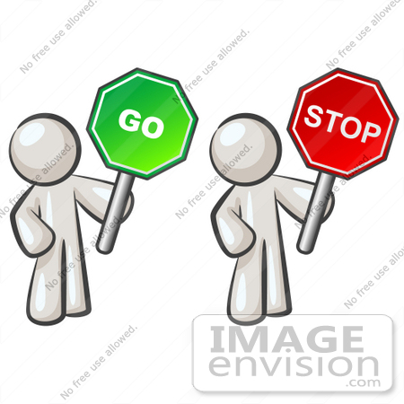 #37431 Clip Art Graphic of White Guy Characters Holding Stop and Go Signs by Jester Arts