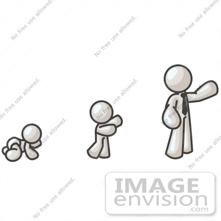 #37483 Clip Art Graphic of a White Guy Character Growing From a Baby to a Man by Jester Arts