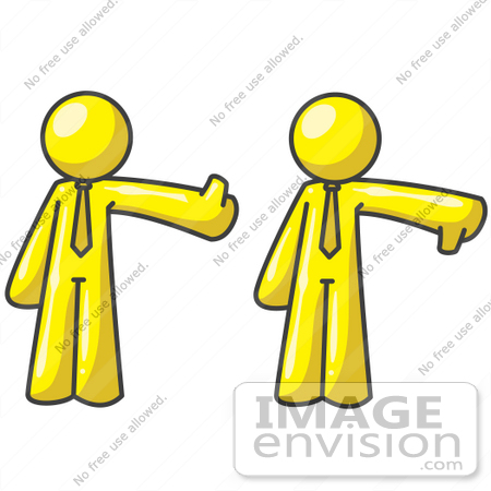 #37688 Clip Art Graphic of Yellow Guy Characters Giving Thumbs Up And Down by Jester Arts